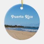 Playa de Puerto Rico Adorno Navideño Redondo De Cerámica