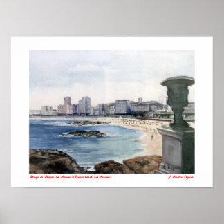 Playa de Riazor (A Coruña)/Riazor beach (A Coruña) Póster