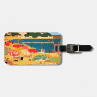 Playa de riviera francesa del vintage etiquetas maletas