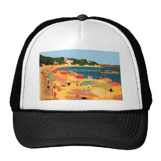 Playa de riviera francesa del vintage gorros bordados