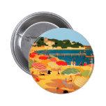 Playa de riviera francesa del vintage pin