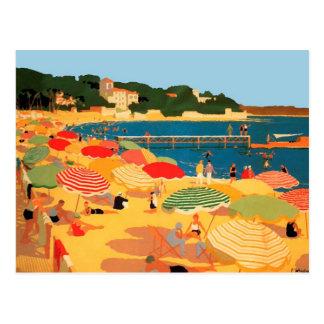 Playa de riviera francesa del vintage postal
