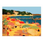 Playa de riviera francesa del vintage postales