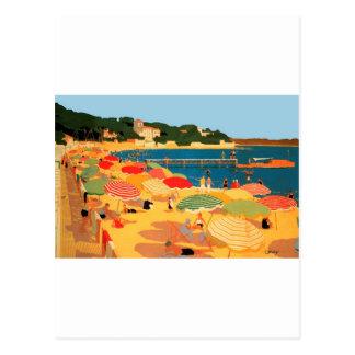 Playa de riviera francesa del vintage tarjeta postal