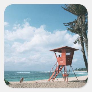 Playa de Sandy 5 Pegatinas Cuadradas Personalizadas
