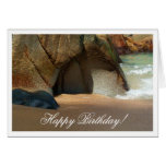 Playa de Sandy blanca; Feliz cumpleaños Felicitaciones
