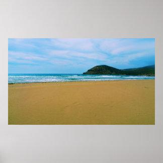 Playa de Sandy con el POSTER de la isla y del mar