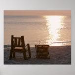 Playa de Sandy de la puesta del sol 2 Póster