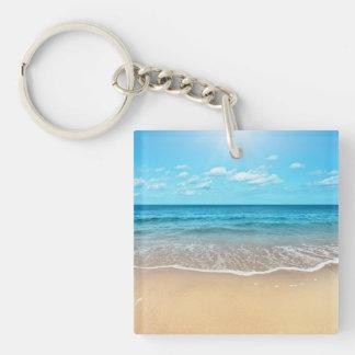 Playa de Sandy perfecta Llavero Cuadrado Acrílico A Una Cara