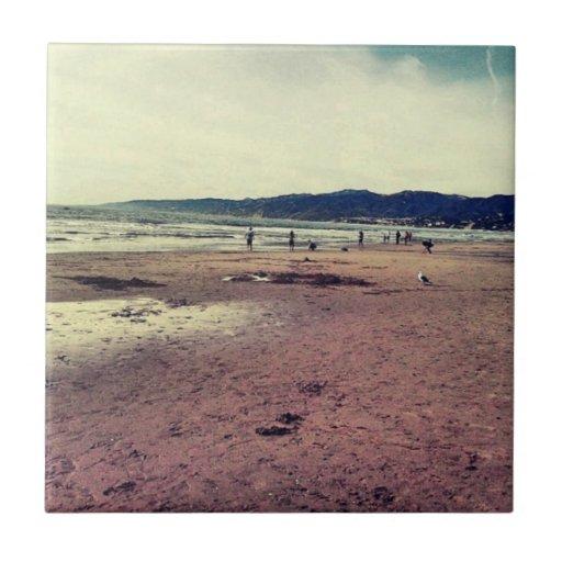 Playa de Santa Mónica Azulejo Cuadrado Pequeño