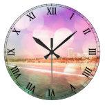 Playa de Santa Mónica - la foto rosada chispeante  Reloj