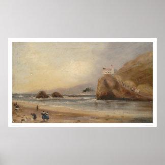Playa de SF, roca del sello, y casa del acantilado Póster