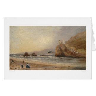 Playa de SF, roca del sello, y casa del acantilado Tarjeta De Felicitación