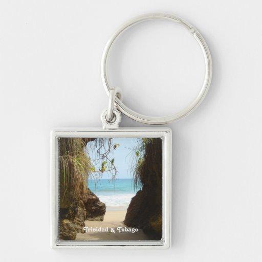 Playa de Trinidad and Tobago Madamas Llavero Cuadrado Plateado