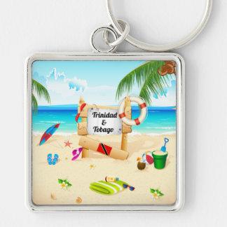 Playa de Trinidad and Tobago Maracas Llavero Cuadrado Plateado