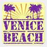 Playa de Venecia Calcomania Cuadradas
