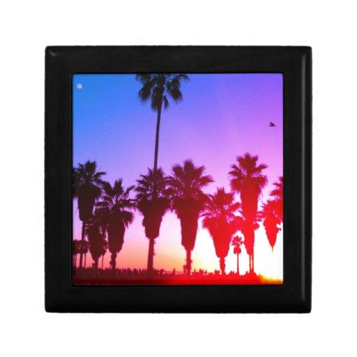Playa de Venecia de las palmeras Joyero Cuadrado Pequeño