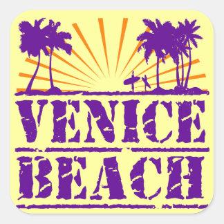 Playa de Venecia Calcomanía Cuadradas