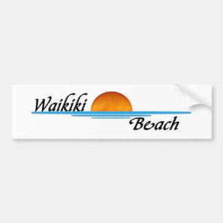 Playa de Waikiki Pegatina De Parachoque