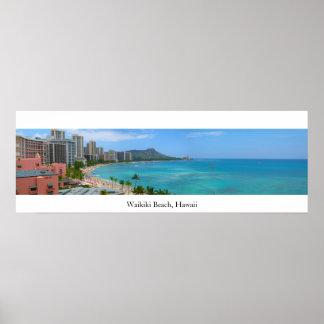 Playa de Waikiki, Hawaii Póster