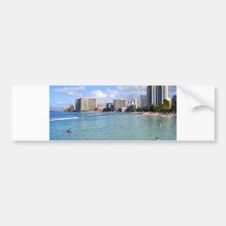 Playa de Waikiki, Oahu, Hawaii Etiqueta De Parachoque