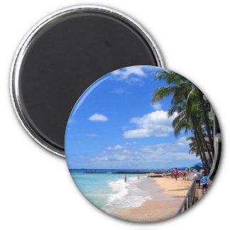 Playa de Waikiki, Oahu, Hawaii Imán Redondo 5 Cm