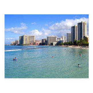 Playa de Waikiki, Oahu, Hawaii Tarjeta Postal