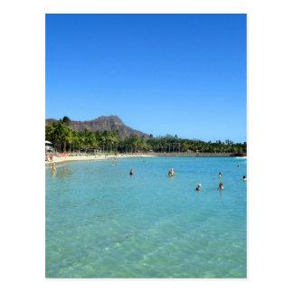 Playa de Waikiki y cráter principal del diamante,  Tarjeta Postal