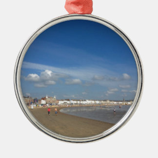 Playa de Weymouth Adorno Redondo Plateado