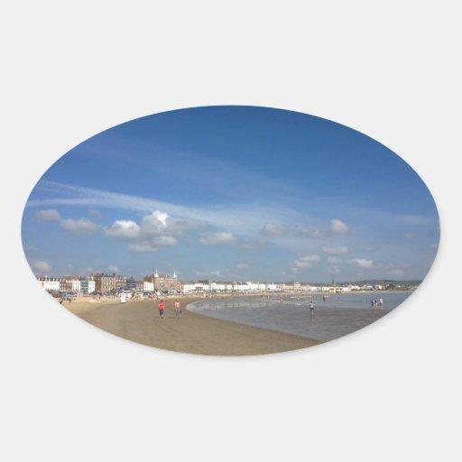 Playa de Weymouth Pegatina Ovalada