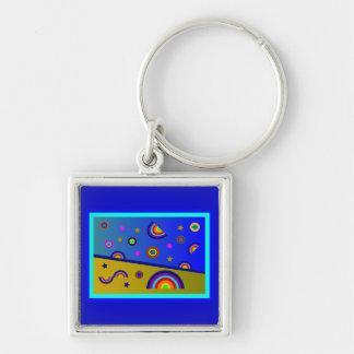 Playa del arco iris en la noche--Extracto Llavero Cuadrado Plateado