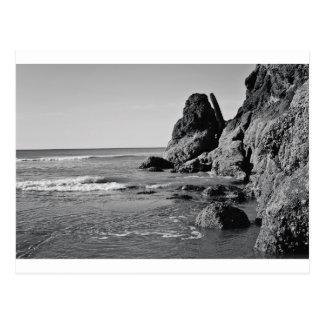 Playa del balanceo blanco y negro tarjeta postal