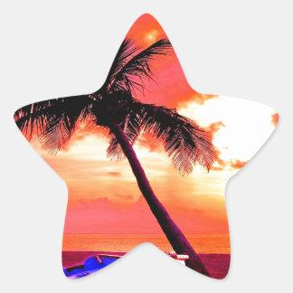 playa del barco de las vacaciones de verano del pegatina en forma de estrella