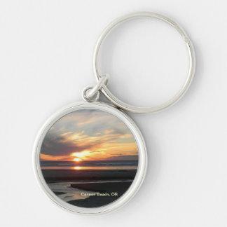 Playa del cañón, puesta del sol de Oregon Llavero Personalizado