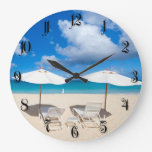 Playa del Caribe hermosa Reloj Redondo Grande