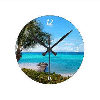 Playa del Caribe Reloj Redondo Mediano