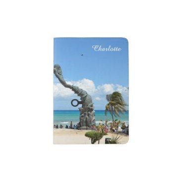 Beach Themed Playa del Carmen Caribbean Mexico Beach Scene Passport Holder