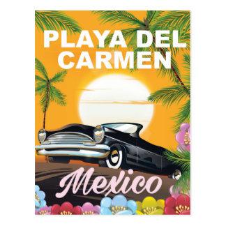 Playa del Carmen Mexican car travel poster Postcard