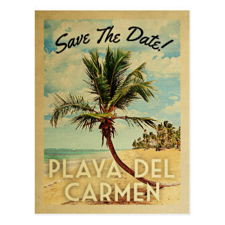 Playa del Carmen Save The Date Vintage Palm Tree Postcard