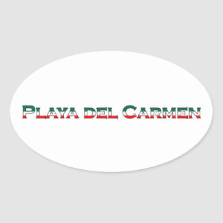 Playa del Carmen (text logo) Oval Sticker