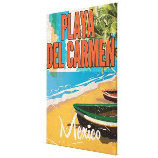 Playa del Carmen Vintage travel poster print Canvas Print