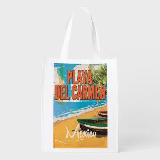 Playa del Carmen Vintage travel poster print Grocery Bag