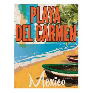 Playa del Carmen Vintage travel poster print Postcard