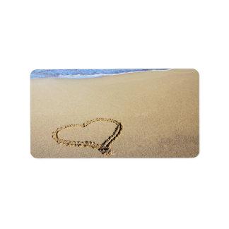 Playa del corazón del amor etiqueta de dirección
