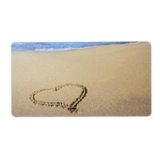 Playa del corazón del amor etiquetas de envío