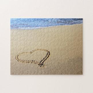Playa del corazón del amor rompecabezas