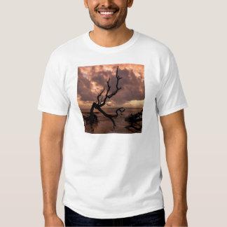 Playa del Driftwood de la puesta del sol Remeras