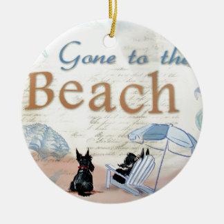 Playa del escocés adorno redondo de cerámica