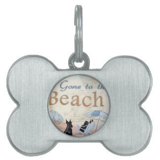 Playa del escocés placas de nombre de mascota