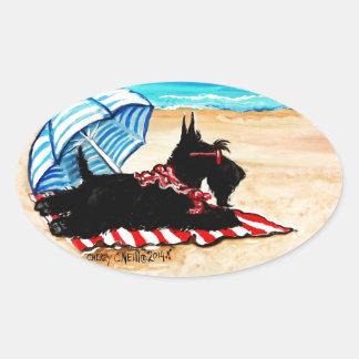 Playa del escocés pegatina ovalada
